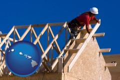 hawaii map icon and a carpenter building a house, working on roof joists