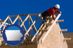 iowa map icon and a carpenter building a house, working on roof joists