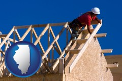 illinois map icon and a carpenter building a house, working on roof joists