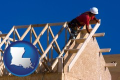 louisiana map icon and a carpenter building a house, working on roof joists