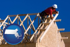massachusetts map icon and a carpenter building a house, working on roof joists
