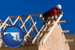 maryland map icon and a carpenter building a house, working on roof joists