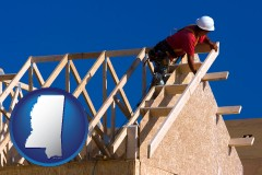mississippi map icon and a carpenter building a house, working on roof joists