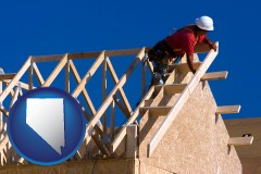 nevada map icon and a carpenter building a house, working on roof joists