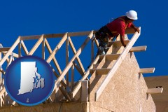 rhode-island map icon and a carpenter building a house, working on roof joists