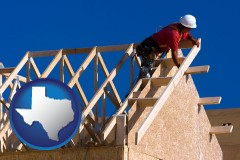 texas map icon and a carpenter building a house, working on roof joists