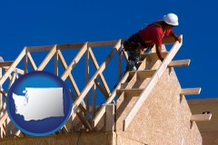 washington map icon and a carpenter building a house, working on roof joists