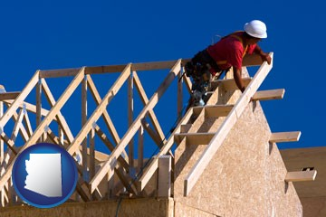a carpenter building a house, working on roof joists - with Arizona icon