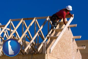 a carpenter building a house, working on roof joists - with Delaware icon