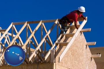 a carpenter building a house, working on roof joists - with Hawaii icon