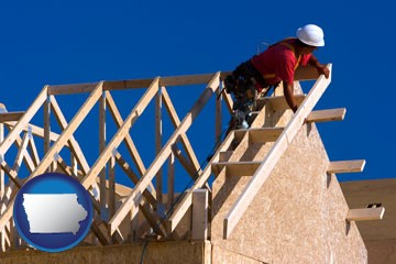 a carpenter building a house, working on roof joists - with Iowa icon