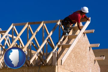 a carpenter building a house, working on roof joists - with Illinois icon