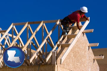 a carpenter building a house, working on roof joists - with Louisiana icon