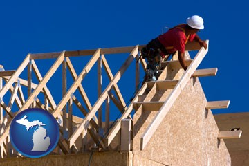 a carpenter building a house, working on roof joists - with Michigan icon