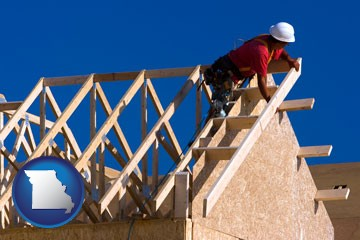 a carpenter building a house, working on roof joists - with Missouri icon