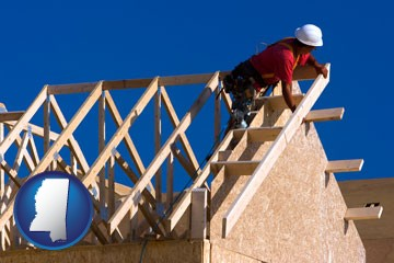 a carpenter building a house, working on roof joists - with Mississippi icon
