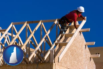 a carpenter building a house, working on roof joists - with New Hampshire icon