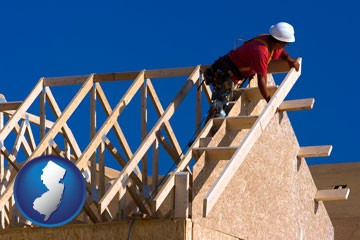 a carpenter building a house, working on roof joists - with New Jersey icon