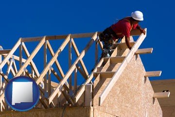 a carpenter building a house, working on roof joists - with New Mexico icon