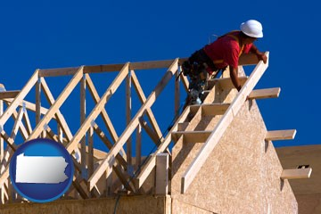a carpenter building a house, working on roof joists - with Pennsylvania icon