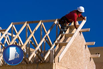 a carpenter building a house, working on roof joists - with Rhode Island icon