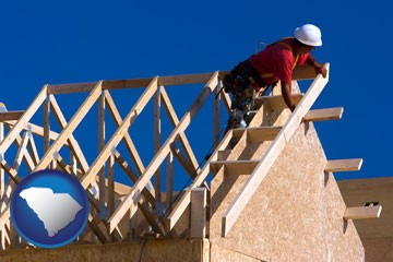 a carpenter building a house, working on roof joists - with South Carolina icon