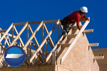 a carpenter building a house, working on roof joists - with Tennessee icon