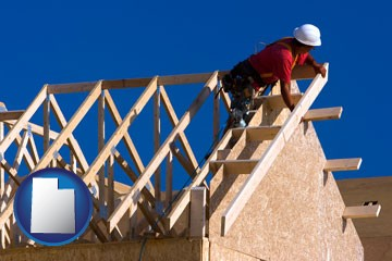 a carpenter building a house, working on roof joists - with Utah icon