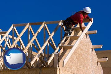 a carpenter building a house, working on roof joists - with Washington icon