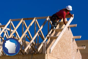 a carpenter building a house, working on roof joists - with Wisconsin icon